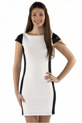 Φόρεμα κοντομάνικο δίχρωμο