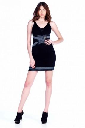 Φόρεμα Βε με κόψιμο χιαστή και lurex λεπτομέρειες