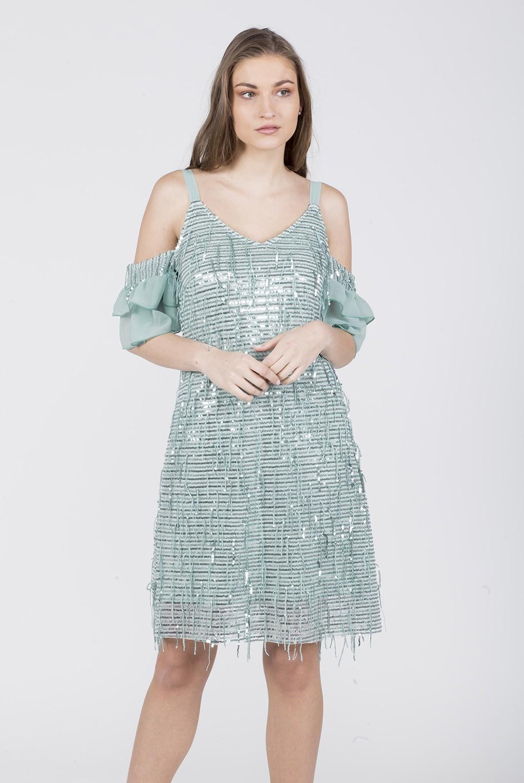 Φόρεμα ραντάκι τούλι παγιέτα με έξωμο μανίκι