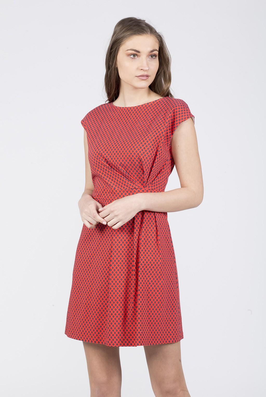 Φόρεμα ζαπονέ εμπριμέ με πιέτες
