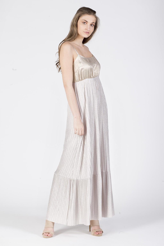 Φόρεμα ραντάκι μάξι φούστα πλισέ lurex