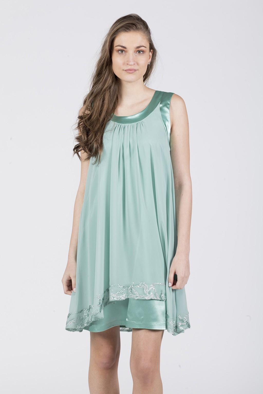 Φόρεμα Αμουσελίνα με τελείωμα παγιέτα