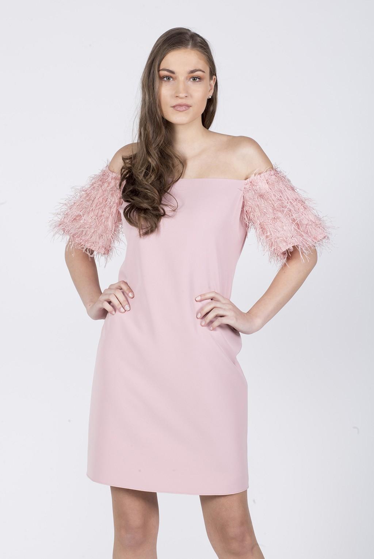 Φόρεμα κρεπ έξωμο με μανίκι φτερά