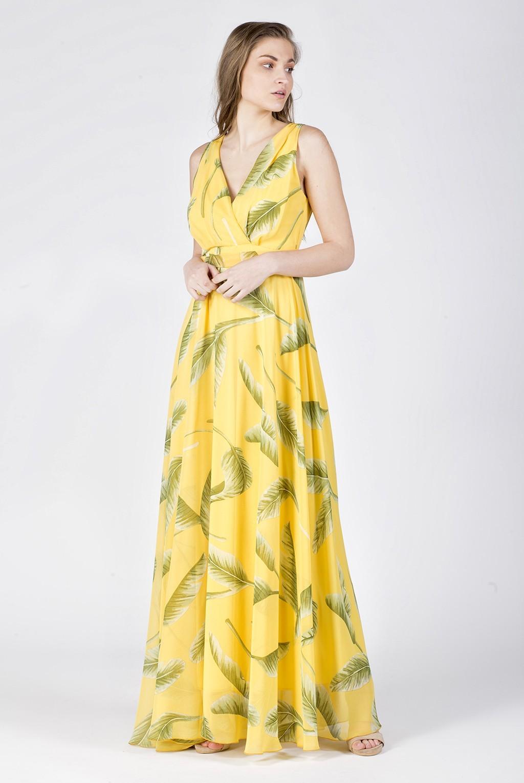 Φόρεμα μάξι κρουαζέ εμπριμέ
