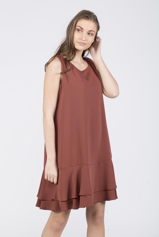 Φόρεμα αμάνικο με διπλό βολάν