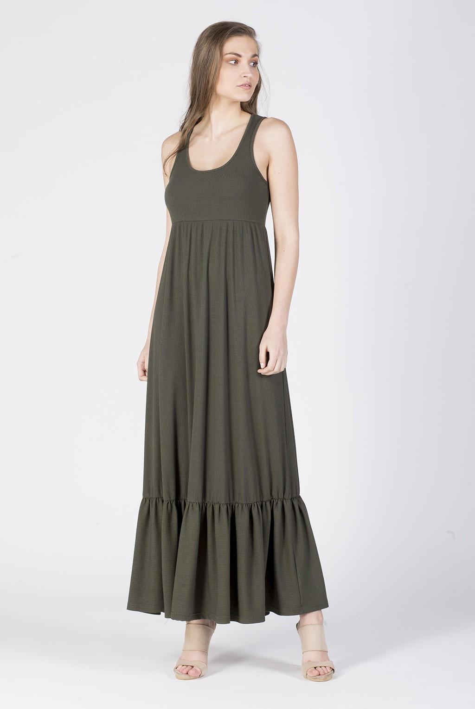 Φόρεμα ριπ φανελάκι μάξι με τελείωμα βολάν