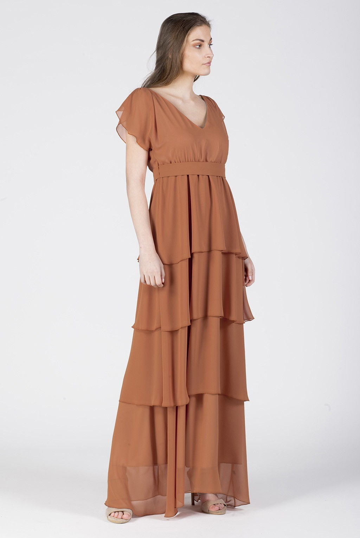 Φόρεμα μουσελίνα μάξι βολάν βε εμπρός πίσω