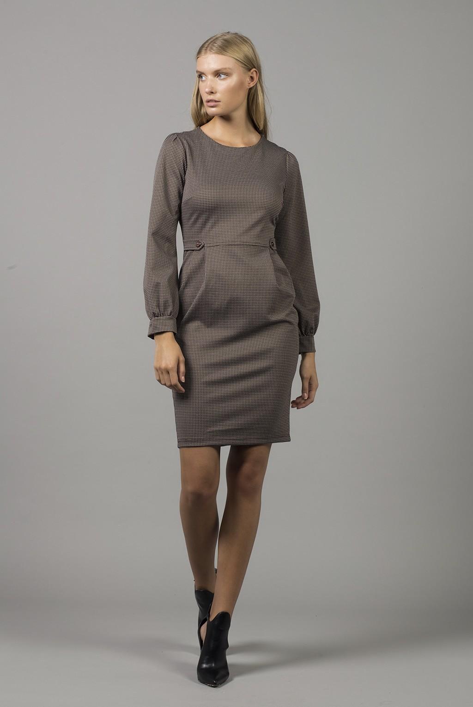 Φόρεμα πτι-καρώ με πιέτες και κουμπιά