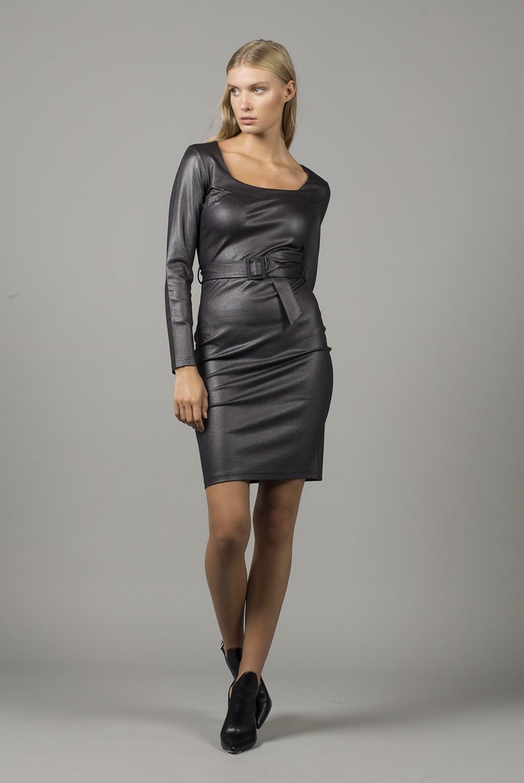 Φόρεμα μον/μο με καρέ και ζώνη