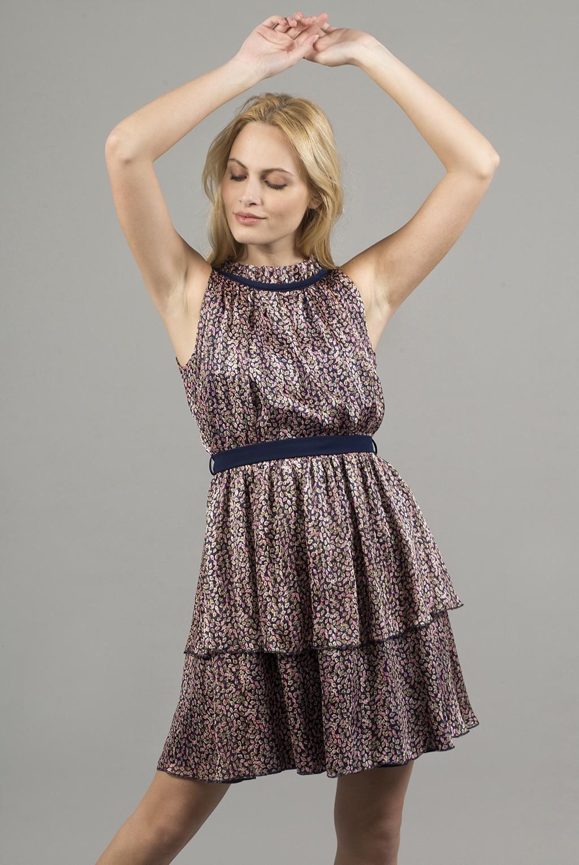 Φόρεμα floral με παρτούς ώμους και διπλή φούστα