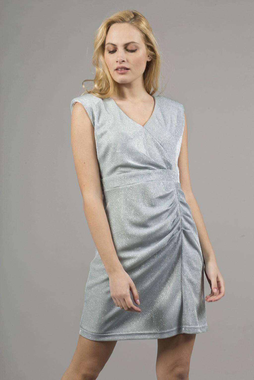 Φόρεμα κρουαζέ με πιέτες στη φούστα