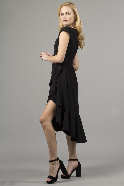 Φόρεμα βε ζαπονέ με άνοιγμα και βολάν στη φούστα