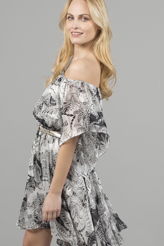 Φόρεμα χαμόγελο έξωμο εμπριμέ