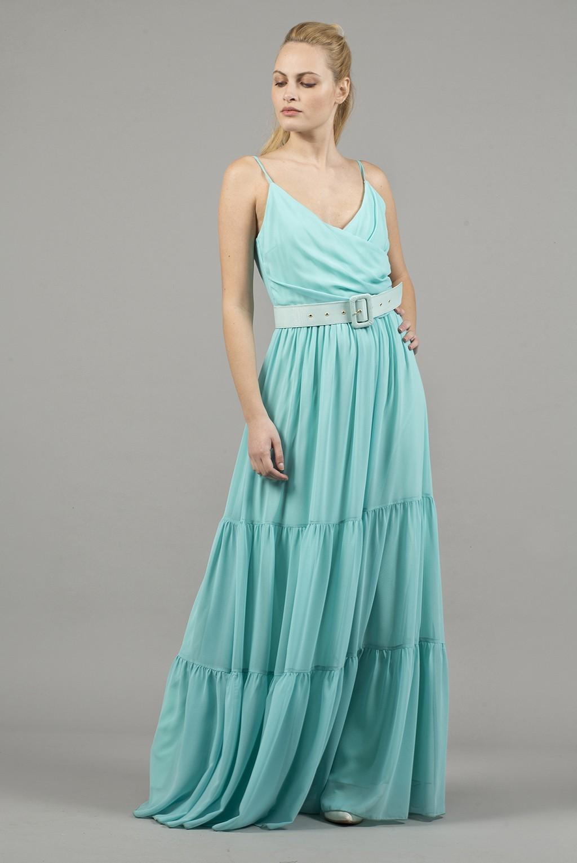 Φόρεμα ραντάκι κρουαζέ μάξι με βολάν
