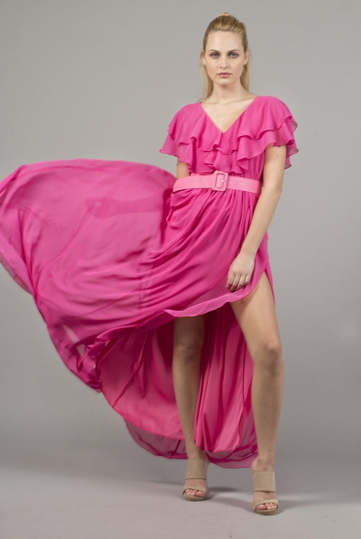 Φόρεμα με διπλό βολάν και άνοιγμα στη φούστα