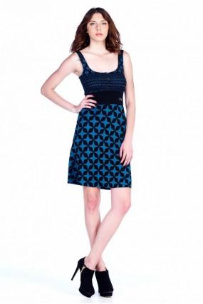 Φόρεμα ζακάρ δίχρωμο