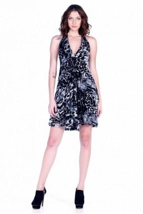 Φόρεμα με δαντέλα λεοπάρ