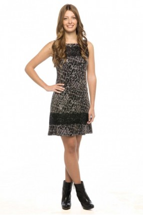 Φόρεμα αμάνικο τιγρέ με δαντέλα